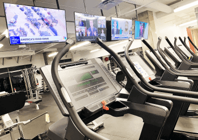 Freemotion Treadmills and televisions at Willow Bend Fitness Club, a West Plano Gym.