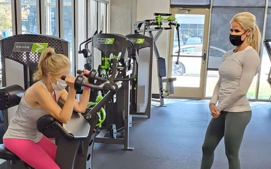 Personal Trainer and her client at WIllow Bend Fitness Club. It is a West Plano Gym.