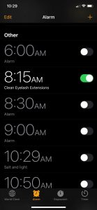 Alarm to Clean Eyelash extensions while working out