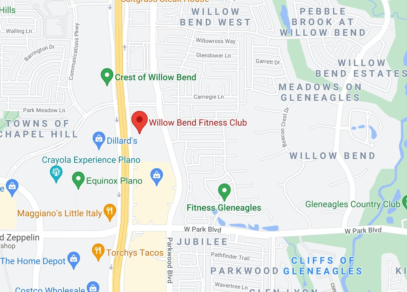Image of Map for Gym memberships in Plano