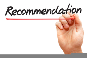 Sign saying recommendation